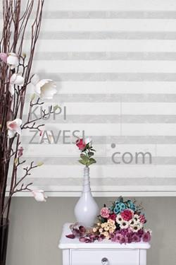 White with Golden Flowers Lace (SHIP) Zebra Curtain V73 (Roller Blind)