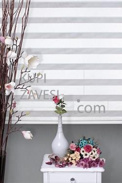 White Silvery Zebra Bamboo Curtain (Roller Blind)