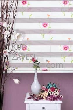 With Poppy Flowers Zebra Curtain (Roller Blind)