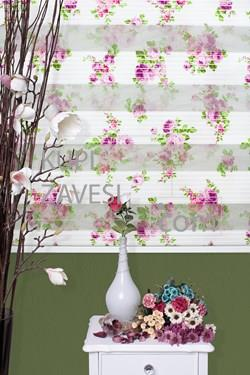 Purple and Lilac Flower with Plush Zebra Curtain (Roller Blind)