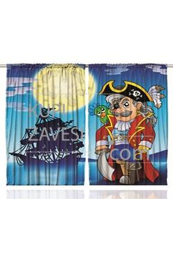 Cartoon Theme with Blue Color Printed Curtains