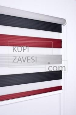 Red-Black with Plush Zebra Curtain (Roller Blind)