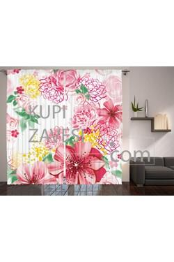 Flower Theme with Pink Color Printed Curtains