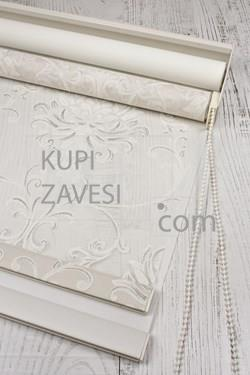 Ekru Damascus with Shine Tull (Lace) Double Roller Blind