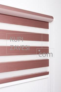 Luxury Rose Color with Plush Zebra Curtain (Roller Blind)