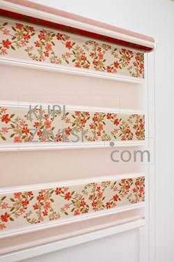 With Red Flowers with Plush Zebra Curtain (Roller Blind)