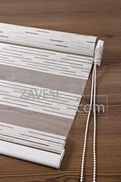 Silver-Smoked with Shine and Striped Schemes Zebra Curtain (Roller Blind)
